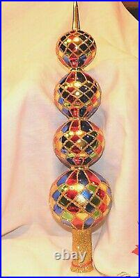 Vtg Radko 1989-90 HARLEQUIN Xmas Tree Topper4 TIER 17 w Original Box POLAND