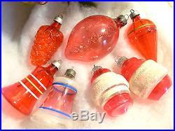 Vtg Red Unsilvered Glass WW2 Xmas Tree Ornaments Mica Bell Lantern Shiny Brite