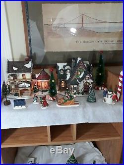 Vtg Retired LOT Department 56 Set Entire Christmas Village Santas Workbench Tree