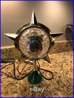 Vtg Retro BRADFORD CELESTIAL LIGHT CHRISTMAS TREE TOPPER ELECTRIC Stars Gold