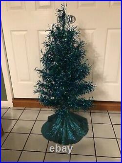 Vtg Revlis Strarlite #c-41 Blue Green 3 1/2 Foot Aluminum Xmas Tree Box Rare