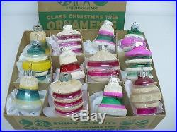 Vtg SHINY BRITE Christmas Tree Ornaments -UNSILVERED Mica Lantern/Bells shapes