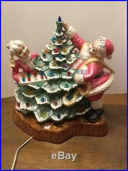 Vtg Santa And Mrs Claus Decorating Christmas Tree Lights Lighted With Base Large