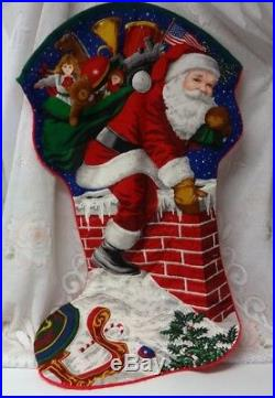 Vtg Santa Chimney Christmas Tree Stocking Toys Candy Bear Gift Bag 30 x 17 RARE