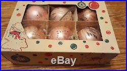 Vtg Shiny Brite West Germany Pink Mica Stencil Glass Christmas Tree Ornament IOB