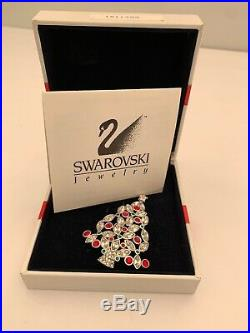 Vtg Signed 2002 SWAROVSKI CHRISTMAS TREE Pin Ruby & Clear Crystal Brooch