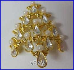Vtg Signed BW Butler & Wilson Christmas Tree Angels Pearls Rhinestone Pin Brooch