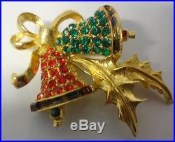 Vtg Signed Pell Christmas Tree Bells Ornament Enamel Rhinestone Pin Brooch RARE