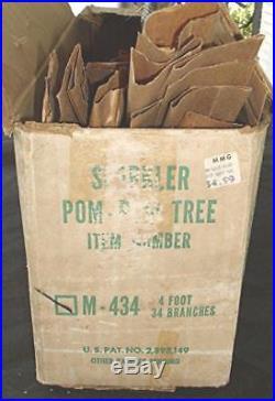 Vtg Sparkler Pom-pom Star Brand Aluminum Christmas Tree 34 Branches 4 Feet Ob
