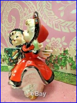 Vtg TMJ Red Green Christmas Dancing Angels Candle Holder TWO ANGELS W TREE