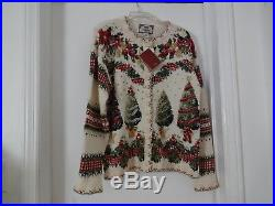 Vtg Tiara Old Stock w tag Ugly Christmas Sweater Size S Embellished Tree