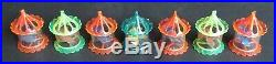 Vtg Tinkle Toy Christmas Tree Bird Cage Spinner Twinkler Motion 7 Ornament Lot