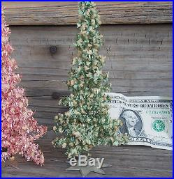 Vtg Tiny Garland Tinsel Wrapped Christmas Trees Star Metal Bases Western Germany
