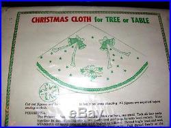 Vtg Unopened 1950's Edna Looney Jeweled Xmas Tree Skirt / Tablecloth Craft Kit
