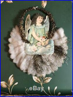 Vtg Victorian Angel Die-Cut Paper Tinsel Christmas Tree Ornament Spun Cotton