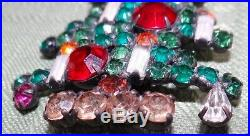 Vtg WEISS 6-Candle Rhinestone Christmas Tree Brooch Pin Excellent