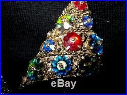 Vtg Weiss Swarovski Crystal Margarita Rivoli Stone Xmas Tree Pin Earrings Set