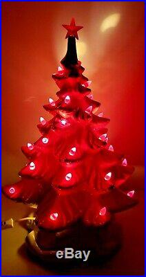 Vtg White 2 Piece Ceramic Christmas Tree Atlantic Mold 17 withRed Lights & Birds