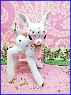 Vtg White Christmas PINK Crystal Rhinestone REINDEER W TWO PINK FROSTED TREES