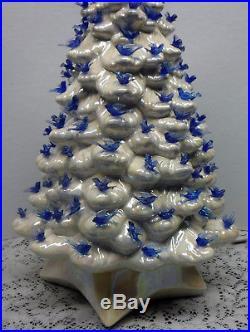 Vtg White Opalescent Large Ceramic Christmas Tree Blue Birds Music Box 20 1/2