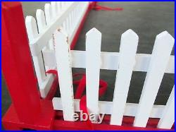 Vtg Wood Christmas Tree Fence & Working Gate! 34 SQUARE! WHITE & RED