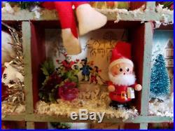 Vtg Xmas Card Shadow Box Diorama Miniatures Ornament Vignette Santa Tree Angel