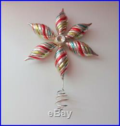 Vtg Xmas Tree Top Topper Silver Multicolor Indent Star Snowflake Decor Ornament