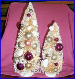 Vtg Xmas bottle brush trees seashell mercury glass ornaments old Cracker Barrel