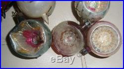 Vtg Xmas ornaments Poland feather tree mercury glass mica glitter INDENTS 12 IOB