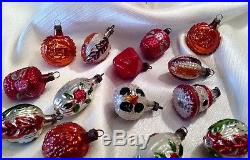 Vtg antique German feather tree xmas ornaments embossed small glass bumpy lot