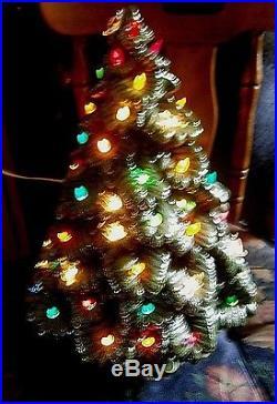 Vtg ceramic Xmas tree light lamp lovely green glaze Nowell mold hand made