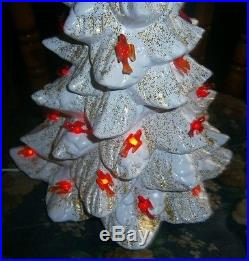 Vtg ceramic Xmas tree light lamp lovely white glaze gold glitter
