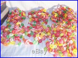 Vtg christmas tree garland 7 strands 64ft lifesaver sugar candy blowmold plastic