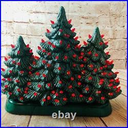 Vtg holland mold ceramic christmas tree set of three together on base RARE 13.5