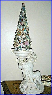 Vtg shabby Xmas jewelry tree Putti cherub 25 OOAK chic rhinestones Show stopper