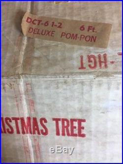 Vtg with Orig Box SPLENDOR 6-1/2' ALUMINUM POM POM CHRISTMAS TREE 85 BRANCH Silver
