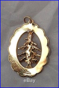 Vtg14k Merry Christmas Tree Charm Bracelet Pendant Crosby Italy Gemstones 3D