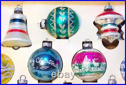 VtgOriginal BOX of 12UFO ATOMIC TOPSPATRIOTICShiny Brite Xmas Glass Ornament