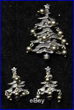 Wow! Rare Vintage Cini Sterling Silver Christmas Tree Pin And Earrings Set Lot