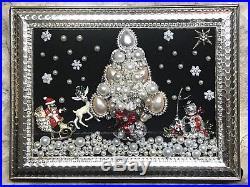 Wear Pin (Or) Framed Jewelry Art Vintage Rhinestone Christmas Tree Brooch LaHeir