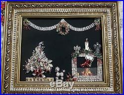 Wear Pin (Or) Framed Jewelry Art Vintage Rhinestone Christmas Tree Pin LaHeir