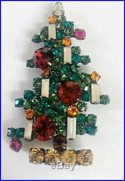 Weiss Christmas Tree Pin Brooch Vintage Signed Rhinestones 6 Candle