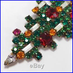 Weiss Christmas Tree Vintage Pin Brooch Geometrical Crystal Deco Green Red Brass