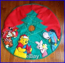 Winnie the Pooh Embroidered Applique Christmas Tree Skirt Walt Disney Store VTG