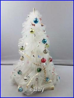 Wonderful Vtg Tulle 18 Centerpiece Christmas Tree w Ornaments
