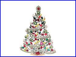 X large Free standing Czech vintage rhinestone Christmas tree ornament 11.5